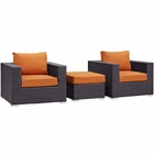 Modway Convene 3 Piece Outdoor Patio Wicker Rattan Sofa Set in Espresso Orange MY-EEI-2174-EXP-ORA-SET