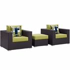 Modway Convene 3 Piece Outdoor Patio Wicker Rattan Sofa Set in Espresso Peridot MY-EEI-2363-EXP-PER-SET