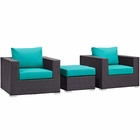 Modway Convene 3 Piece Outdoor Patio Wicker Rattan Sofa Set in Espresso Turquoise MY-EEI-2174-EXP-TRQ-SET
