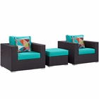 Modway Convene 3 Piece Outdoor Patio Wicker Rattan Sofa Set in Espresso Turquoise MY-EEI-2363-EXP-TRQ-SET