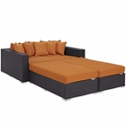 Modway Convene 4 Piece Outdoor Patio Wicker Rattan Daybed in Espresso Orange MY-EEI-2160-EXP-ORA-SET
