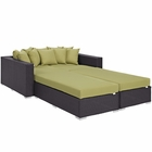 Modway Convene 4 Piece Outdoor Patio Wicker Rattan Daybed in Espresso Peridot MY-EEI-2160-EXP-PER-SET