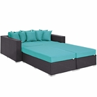 Modway Convene 4 Piece Outdoor Patio Wicker Rattan Daybed in Espresso Turquoise MY-EEI-2160-EXP-TRQ-SET