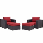 Modway Convene 4 Piece Outdoor Patio Wicker Rattan Sectional Set in Espresso Red MY-EEI-2202-EXP-RED-SET