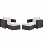 Modway Convene 4 Piece Outdoor Patio Wicker Rattan Sectional Set in Espresso White MY-EEI-2202-EXP-WHI-SET