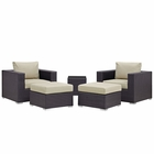 Modway Convene 5 Piece Outdoor Patio Upholstered Fabric Sectional Set in Espresso Beige MY-EEI-1809-EXP-BEI-SET