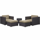 Modway Convene 5 Piece Outdoor Patio Upholstered Fabric Sectional Set in Espresso Mocha MY-EEI-1809-EXP-MOC-SET