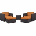 Modway Convene 5 Piece Outdoor Patio Upholstered Fabric Sectional Set in Espresso Orange MY-EEI-1809-EXP-ORA-SET