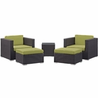 Modway Convene 5 Piece Outdoor Patio Upholstered Fabric Sectional Set in Espresso Peridot MY-EEI-1809-EXP-PER-SET