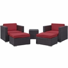 Modway Convene 5 Piece Outdoor Patio Upholstered Fabric Sectional Set in Espresso Red MY-EEI-1809-EXP-RED-SET