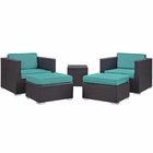 Modway Convene 5 Piece Outdoor Patio Upholstered Fabric Sectional Set in Espresso Turquoise MY-EEI-1809-EXP-TRQ-SET