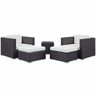 Modway Convene 5 Piece Outdoor Patio Upholstered Fabric Sectional Set in Espresso White MY-EEI-1809-EXP-WHI-SET