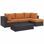 Modway Convene 5 Piece Outdoor Patio Wicker Rattan Sectional Set in Espresso Orange MY-EEI-2172-EXP-ORA-SET