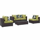 Modway Convene 5 Piece Outdoor Patio Wicker Rattan Sectional Set in Espresso Peridot MY-EEI-2356-EXP-PER-SET