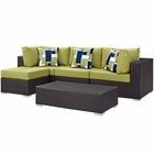Modway Convene 5 Piece Outdoor Patio Wicker Rattan Sectional Set in Espresso Peridot MY-EEI-2362-EXP-PER-SET