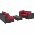Modway Convene 5 Piece Outdoor Patio Wicker Rattan Sectional Set in Espresso Red MY-EEI-2163-EXP-RED-SET