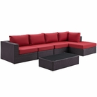 Modway Convene 5 Piece Outdoor Patio Wicker Rattan Sectional Set in Espresso Red MY-EEI-2167-EXP-RED-SET