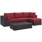 Modway Convene 5 Piece Outdoor Patio Wicker Rattan Sectional Set in Espresso Red MY-EEI-2172-EXP-RED-SET