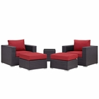 Modway Convene 5 Piece Outdoor Patio Wicker Rattan Sectional Set in Espresso Red MY-EEI-2201-EXP-RED-SET
