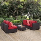 Modway Convene 5 Piece Outdoor Patio Wicker Rattan Sectional Set in Espresso Red MY-EEI-2356-EXP-RED-SET