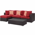 Modway Convene 5 Piece Outdoor Patio Wicker Rattan Sectional Set in Espresso Red MY-EEI-2362-EXP-RED-SET