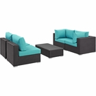 Modway Convene 5 Piece Outdoor Patio Wicker Rattan Sectional Set in Espresso Turquoise MY-EEI-2163-EXP-TRQ-SET