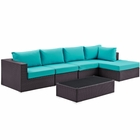Modway Convene 5 Piece Outdoor Patio Wicker Rattan Sectional Set in Espresso Turquoise MY-EEI-2167-EXP-TRQ-SET