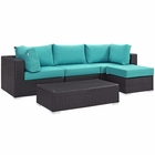 Modway Convene 5 Piece Outdoor Patio Wicker Rattan Sectional Set in Espresso Turquoise MY-EEI-2172-EXP-TRQ-SET