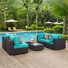 Modway Convene 5 Piece Outdoor Patio Wicker Rattan Sectional Set in Espresso Turquoise MY-EEI-2356-EXP-TRQ-SET