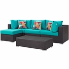 Modway Convene 5 Piece Outdoor Patio Wicker Rattan Sectional Set in Espresso Turquoise MY-EEI-2362-EXP-TRQ-SET