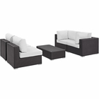 Modway Convene 5 Piece Outdoor Patio Wicker Rattan Sectional Set in Espresso White MY-EEI-2163-EXP-WHI-SET