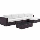 Modway Convene 5 Piece Outdoor Patio Wicker Rattan Sectional Set in Espresso White MY-EEI-2167-EXP-WHI-SET