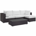Modway Convene 5 Piece Outdoor Patio Wicker Rattan Sectional Set in Espresso White MY-EEI-2172-EXP-WHI-SET