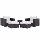 Modway Convene 5 Piece Outdoor Patio Wicker Rattan Sectional Set in Espresso White MY-EEI-2201-EXP-WHI-SET