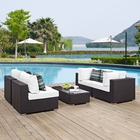 Modway Convene 5 Piece Outdoor Patio Wicker Rattan Sectional Set in Espresso White MY-EEI-2356-EXP-WHI-SET