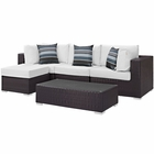 Modway Convene 5 Piece Outdoor Patio Wicker Rattan Sectional Set in Espresso White MY-EEI-2362-EXP-WHI-SET