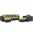 Modway Convene 6 Piece Outdoor Patio Wicker Rattan Sectional Set in Espresso Peridot MY-EEI-2372-EXP-PER-SET