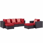 Modway Convene 6 Piece Outdoor Patio Wicker Rattan Sectional Set in Espresso Red MY-EEI-2372-EXP-RED-SET