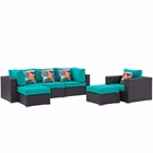 Modway Convene 6 Piece Outdoor Patio Wicker Rattan Sectional Set in Espresso Turquoise MY-EEI-2372-EXP-TRQ-SET