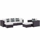 Modway Convene 6 Piece Outdoor Patio Wicker Rattan Sectional Set in Espresso White MY-EEI-2372-EXP-WHI-SET