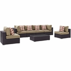 Modway Convene 7 Piece Outdoor Patio Wicker Rattan Sectional Set in Espresso Mocha MY-EEI-2357-EXP-MOC-SET
