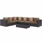 Modway Convene 7 Piece Outdoor Patio Wicker Rattan Sectional Set in Espresso Mocha MY-EEI-2361-EXP-MOC-SET