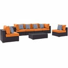 Modway Convene 7 Piece Outdoor Patio Wicker Rattan Sectional Set in Espresso Orange MY-EEI-2357-EXP-ORA-SET