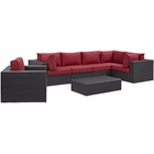 Modway Convene 7 Piece Outdoor Patio Wicker Rattan Sectional Set in Espresso Red MY-EEI-2157-EXP-RED-SET