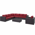 Modway Convene 7 Piece Outdoor Patio Wicker Rattan Sectional Set in Espresso Red MY-EEI-2162-EXP-RED-SET