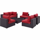 Modway Convene 7 Piece Outdoor Patio Wicker Rattan Sectional Set in Espresso Red MY-EEI-2164-EXP-RED-SET