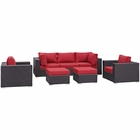 Modway Convene 7 Piece Outdoor Patio Wicker Rattan Sectional Set in Espresso Red MY-EEI-2200-EXP-RED-SET