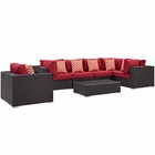 Modway Convene 7 Piece Outdoor Patio Wicker Rattan Sectional Set in Espresso Red MY-EEI-2350-EXP-RED-SET