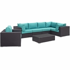 Modway Convene 7 Piece Outdoor Patio Wicker Rattan Sectional Set in Espresso Turquoise MY-EEI-2157-EXP-TRQ-SET
