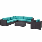 Modway Convene 7 Piece Outdoor Patio Wicker Rattan Sectional Set in Espresso Turquoise MY-EEI-2162-EXP-TRQ-SET